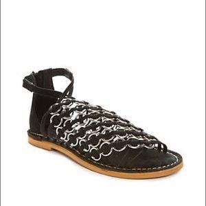 MUSSE & CLOUD Monnie Ring Flat BLK Sandals Size 6